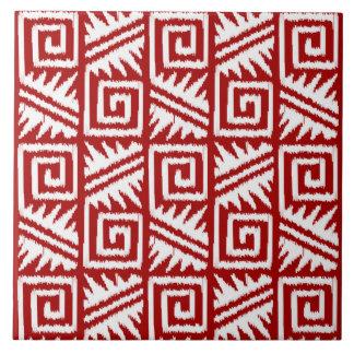 Carreau Motif aztèque d'Ikat - rouge foncé et blanc