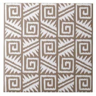 Carreau Motif aztèque d'Ikat - Taupe Tan et crème