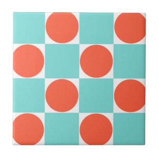 Carreau Motif Checkered de points bleus et oranges d'Aqua