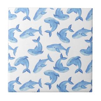 Carreau Motif de baleine bleue d'aquarelle