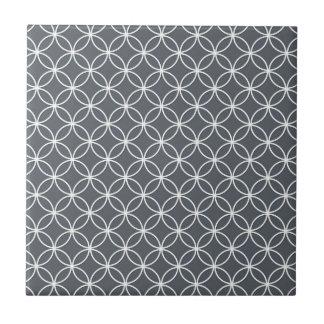 Carreau Motif de cercles de gris en acier et de blanc