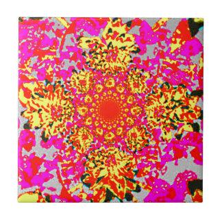 Carreau Motif de fleur floral rose jaune abstrait de