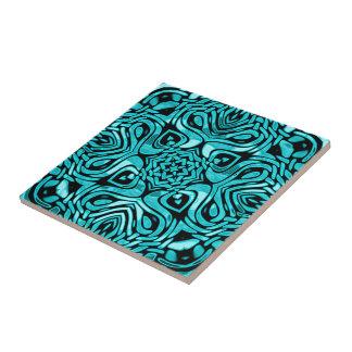 Carreau Motif de mosaïque africain bleu turquoise de
