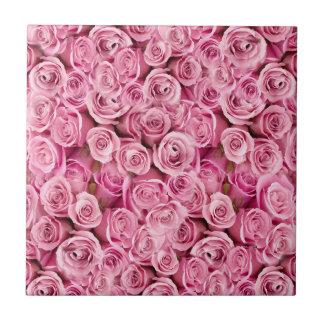 Carreau Motif floral de photo de roses roses sensibles