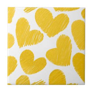 Carreau Motif jaune en pastel Girly de coeurs d'amour