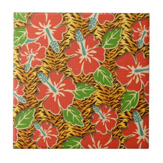 Carreau Motif sauvage de tigre de fleurs tropicales
