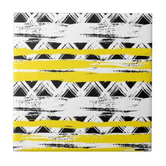 Carreau Motif tribal de rayures jaunes blanches noires
