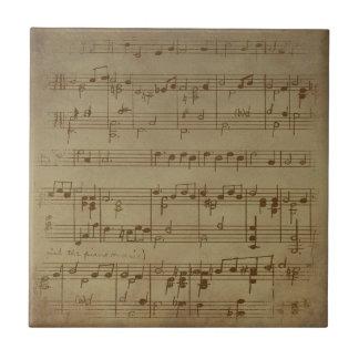 Carreau Motif vintage de musique de feuille
