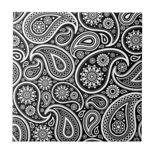 carreau motif vintage noir et blanc de damass de paisley. Black Bedroom Furniture Sets. Home Design Ideas
