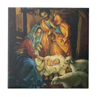 Carreau Nativité vintage de Noël, bébé Jésus dans Manger