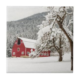 Carreau Neige fraîche sur la grange rouge