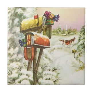 Carreau Noël vintage, boîtes aux lettres dans le paysage