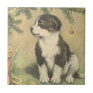 Carreau Noël vintage, chiot mignon d'animal familier