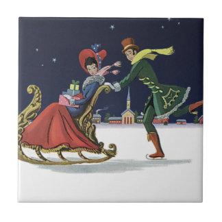 Carreau Noël vintage, couple dans le patinage de glace