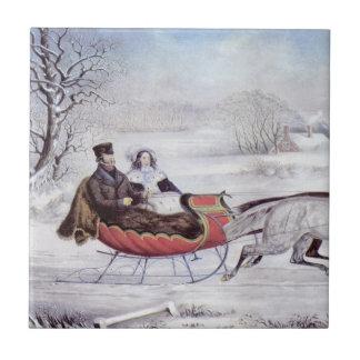 Carreau Noël vintage, l'hiver de route, cheval de Sleigh