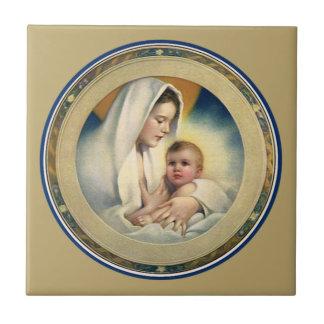 Carreau Noël vintage, Madonna et enfant de Relgious