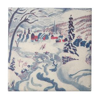 Carreau Noël vintage, Snowscape avec le village d'hiver