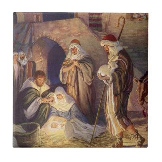 Carreau Noël vintage, trois bergers et bébé Jésus