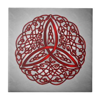 Carreau Noeud celtique rouge et noir de trinité d'art