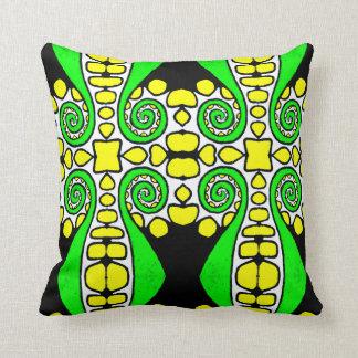 Carreau noir jaune vert | de remous géométrique coussin
