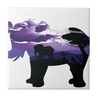 Carreau Nuit africaine avec l'éléphant