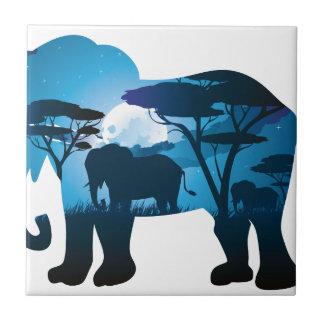 Carreau Nuit africaine avec l'éléphant 6