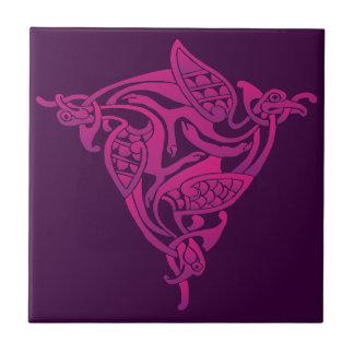 Carreau Oiseau celtique pourpre rose