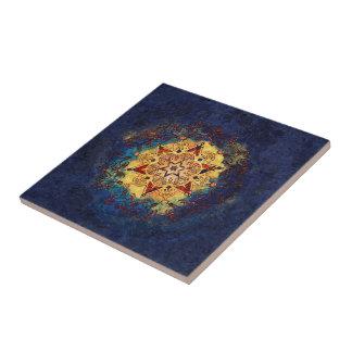 Carreau Or d'éclat d'étoile et tuile en céramique bleue