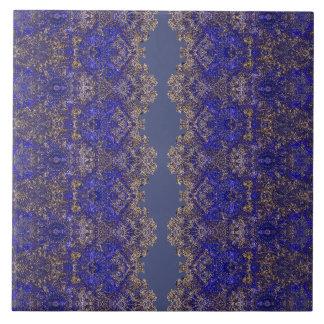 Carreau Ornement d'or-bleu lacé Boho-Romantique