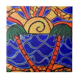 Carreau Palmiers dans l'art tropical de plage de tuile de