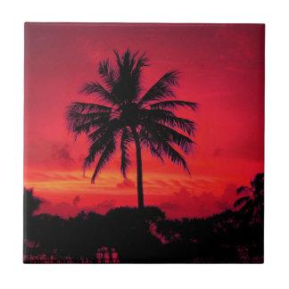 Carreau Palmiers exotiques de coucher du soleil hawaïen