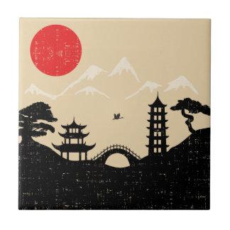 Carreau Paysage japonais - style grunge