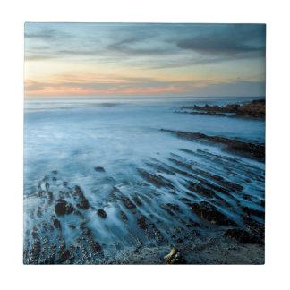 Carreau Paysage marin bleu au coucher du soleil, la