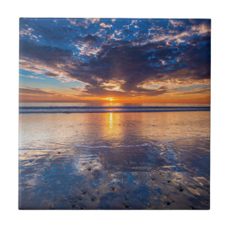 Carreau Paysage marin dramatique, coucher du soleil, CA