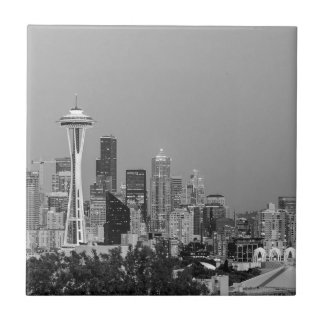 Carreau Paysage urbain noir et blanc de Seattle