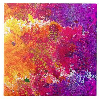 Carreau Peinture abstraite colorée mignonne d'éclaboussure