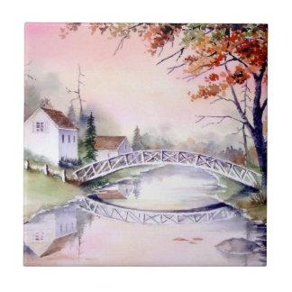 Carreau Peinture arquée d'aquarelle de pont