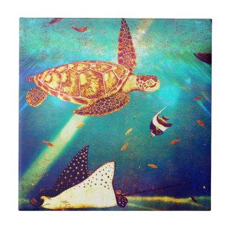 Carreau Peinture colorée de tortue de mer d'océan bleu