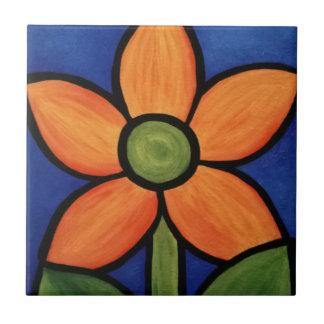 Carreau Peinture colorée orange de ciel bleu de fleur