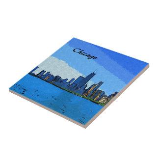 Carreau Peinture de collage d'horizon de Chicago