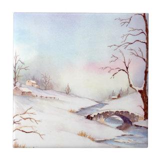 Carreau Peinture de paysage d'aquarelle de pont de Milou