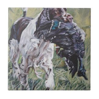 Carreau peinture réaliste de beaux-arts de chien de