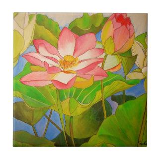 Carreau Peinture rose d'art d'aquarelle de nénuphar de