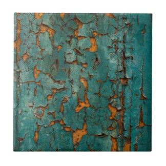Carreau Peinture turquoise et jaune d'épluchage