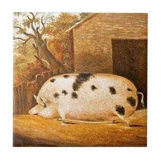 Carreau Peinture vintage repérée par porc de ferme de porc