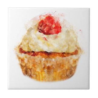 Carreau Petit gâteau mignon d'aquarelle