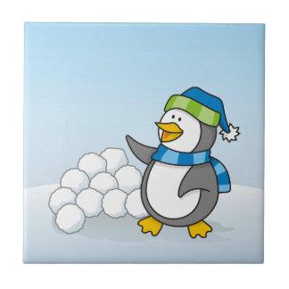 Carreau Petit pingouin avec l'ondulation de boules de