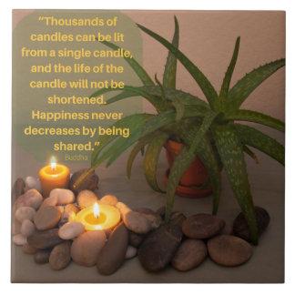 Carreau Photographie de bougie et d'aloès avec la citation