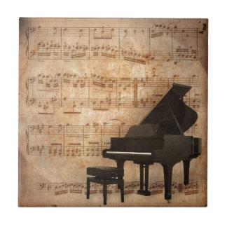 Carreau Piano à queue avec des notes de musique