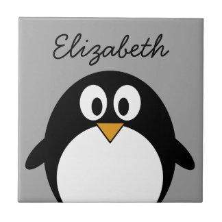 Carreau Pingouin mignon de bande dessinée avec l'arrière -
